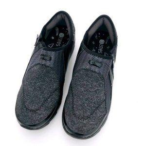 BZEES Women's Black Grey Slip On Sneakers 10W